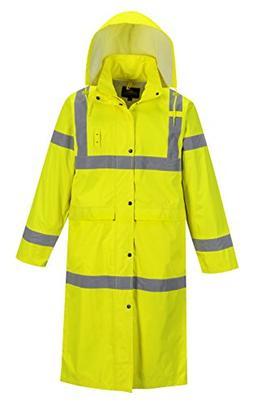 """Portwest Hi-Vis Classic Rain Coat 48"""" in Length, Hi-Vis Wate"""