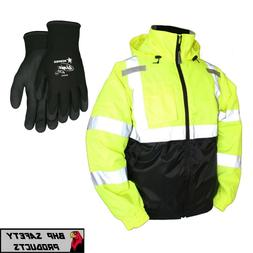 Hi-Vis Insulated Safety Bomber Reflective Jacket with Winter