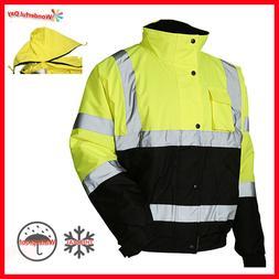 Hi Vis Insulated Safety Bomber Reflective Winter Jacket Warm