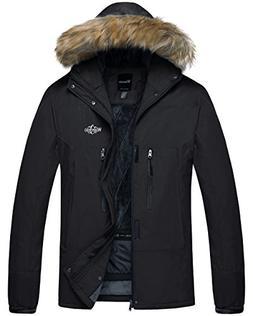 Wantdo Men's Hooded Mountain Rain Jacket Outdoor Fleece Line