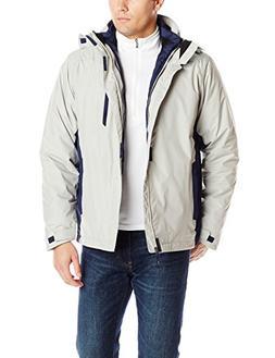 IZOD Men's Hooded Systems 3-In-1 Jacket, Stone/Midnight, Med
