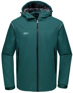 Wantdo Men's Hooded Waterproof Rain Jacket Fleece Lined Wind