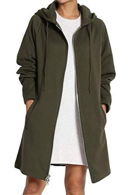 TheMogan Women's Hoodie Oversized Zip Up Long Fleece Sweat J