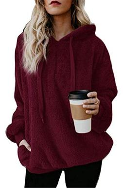 onlypuff Hoody Sweatshirts for Women Sherpa Pullover Jackets
