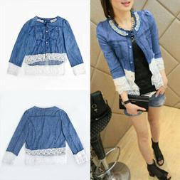 Womens Denim Jacket Lace Splicing Long Sleeve Outwear Jean C