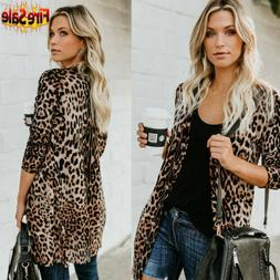 Hot ! Women's Leopard Print Sweater Cardigan Coat Jacket Lon