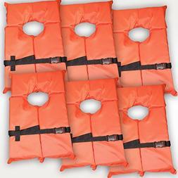 Hardcore Water Sports 6 Pack Type II Orange Life Jacket Vest