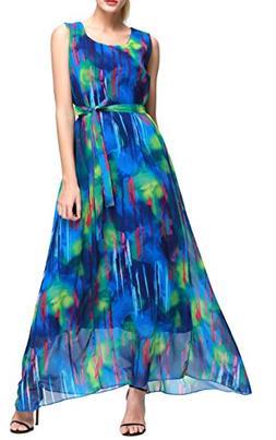 Wantdo Women's Ink Painting Chiffon Maxi Dress Bohemian Summ
