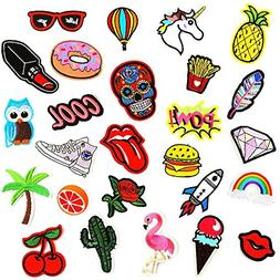 Bowisheet Iron On Patches 26 Pcs Embroidered Motif Applique