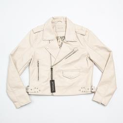 BLANKNYC Ivory White Faux Leather Moto Jacket - Women's M
