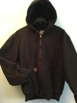 Carhartt J130 DARK BROWN SANDSTONE QUILTED FLANNEL-LINED ACT