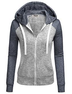 Jacket For Women, DJT Women's Color Block Long Sleeve Zip-up