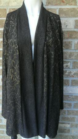 Catherines Jacket Top Black W/Gold Metallic/Free Open Plus S