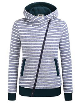 DJT Jacket Zipper Hooded for Women, Winter Fall Funnel Neck