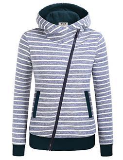 DJT Jacket Zipper Hooded for Women, Winter Fall Funnel Neck