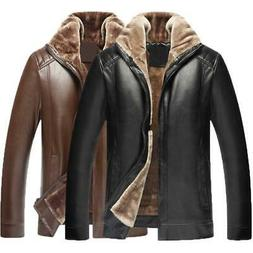 Classic Jackets Mens Coats PU Leather Fleece Thick Zipper Sl