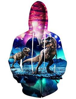 Uideazone Men Women 3D Printed Dinosaur Zipper Hoodie Cool G