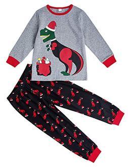 Uideazone Kid Boy Girls Pajamas Set Long T Shirt + Pants Xma