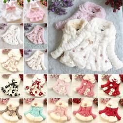 Kids Girls Faux Fur Warm Hooded Coat Baby Toddler Fleece Jac