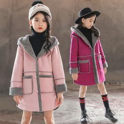 Kids Girls Winter Warm Hoodie Hoody Trench Coat Thick Fleece