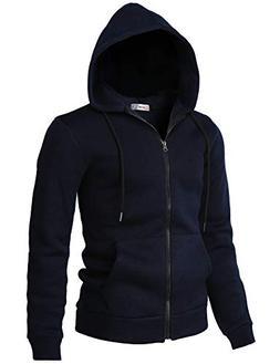 H2H Mens Knitted Casual Slim Fit Zip-Up Hoodie Jacket Long S