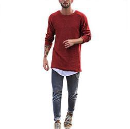 Knitted Sweater Tops Mens,Hemlock Men's Round Neck Long Slee