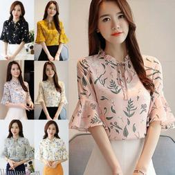 Korean Women Flare Sleeve Floral Loose Tunic Casual OL Caree