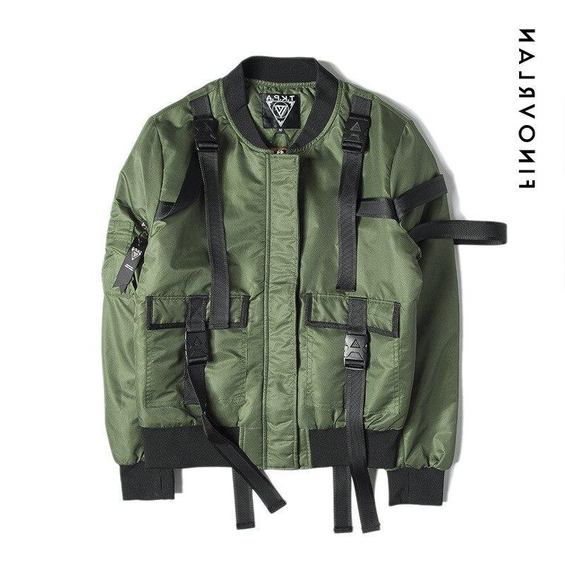 2018 quality winter Green ribbon <font><b>jacket</b></font> Military aviator bomber Streetwear