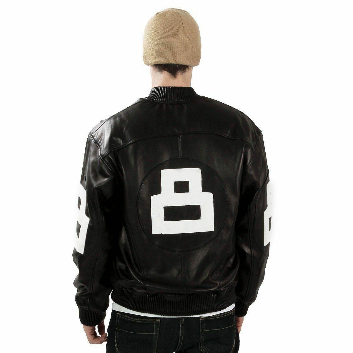8 ball leather jacket bomber style black