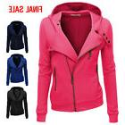 Doublju Women Slim Fit Fleece Zip-up Hoodie Jacket