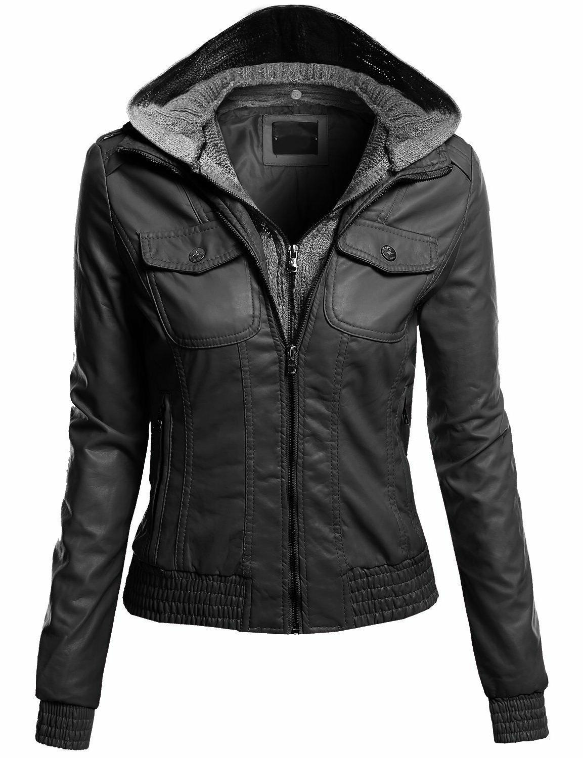 FashionOutfit Women's Zip-Up Biker Bomber Hoodie Lined Faux