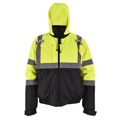 Hi-Vis Class 3 Hooded Bomber Winter Safety Jacket Reflective