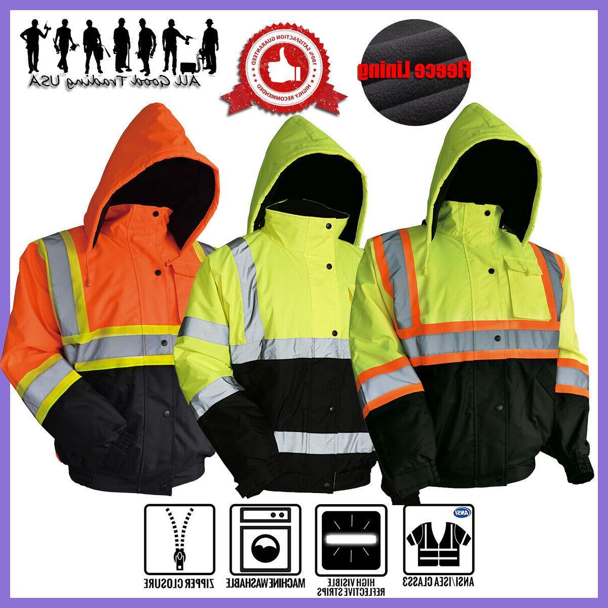 Hi-Vis Insulated Safety Bomber Reflective Jacket Coat Road W