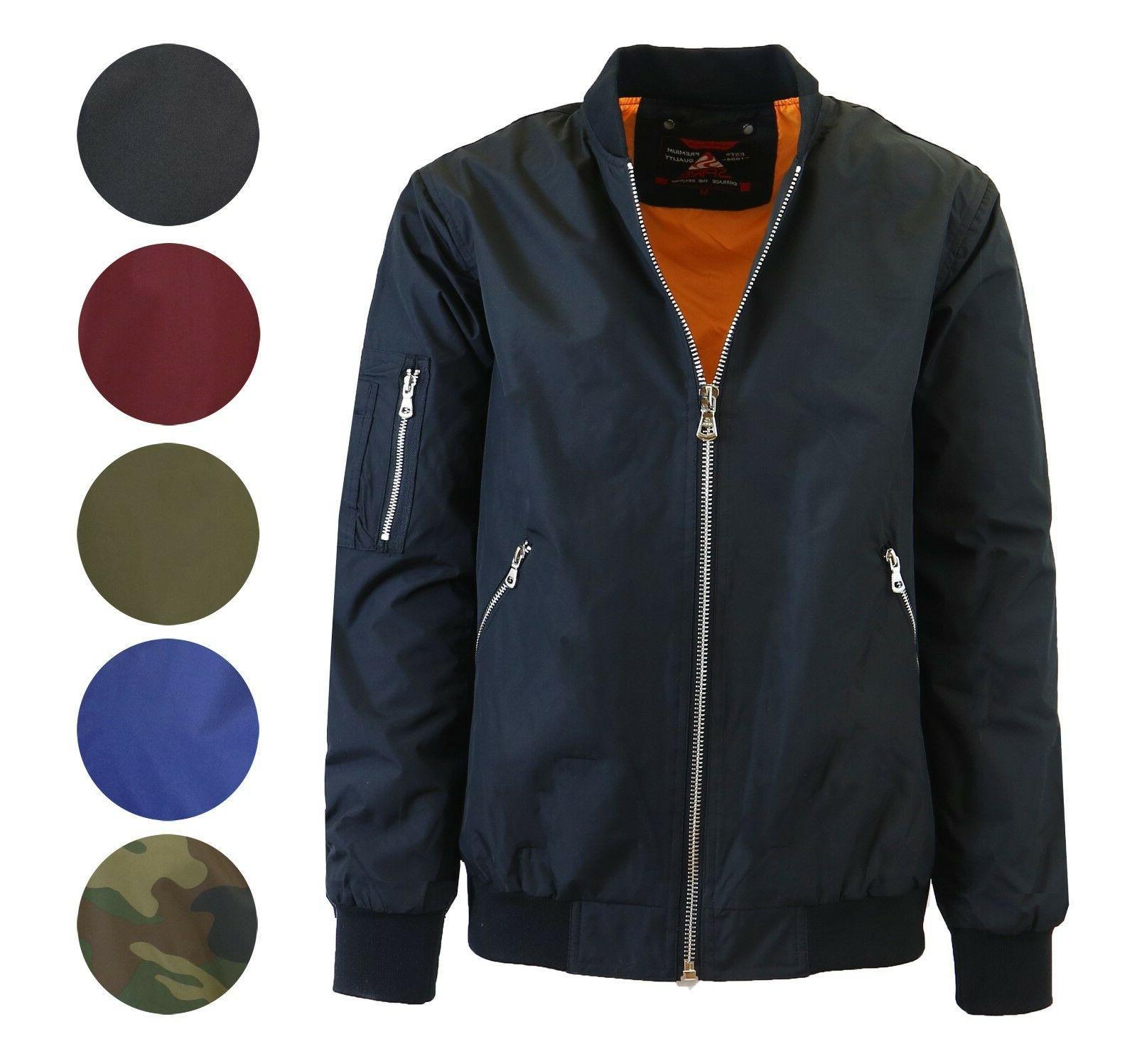 Mens Lightweight MA-1 Jacket Warm Full Coat NEW