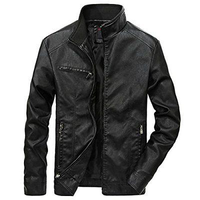 Nantersan Men's Leather Jacket Stand Collar PU Mens Faux Fur