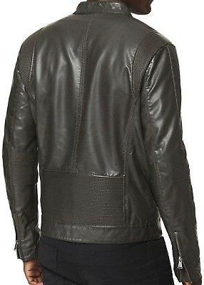 New Men's Leather Biker Jacket, Moto Coat,