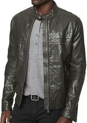 New EXPRESS Men's Faux Leather Biker Jacket, Racer Moto Coat