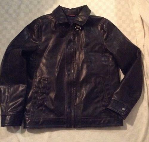 New Tommy Hilfiger Men's Motorcycle Jacket Black Faux Leathe