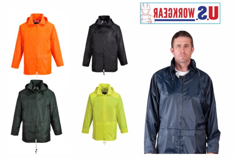 Portwest US440 Classic Rain Jacket, Waterproof Outdoor Coat