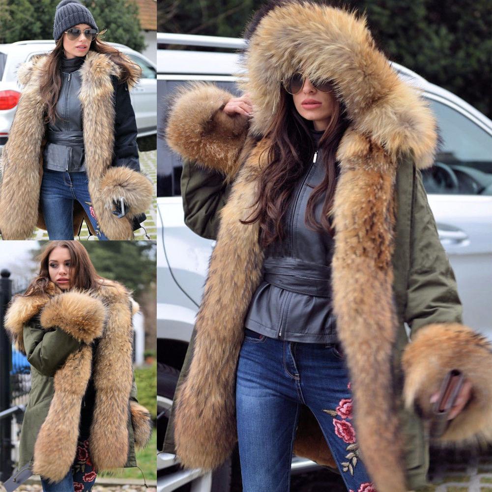 Roiii Women Rich Faux Fur Warm Outdoor Snow Winter Hooded Ja