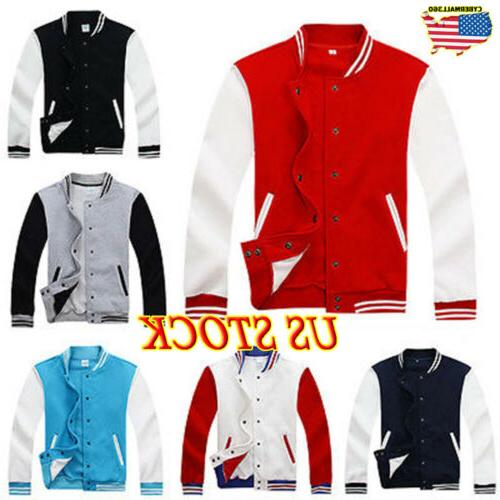 US Men Fashion Varsity Jacket College University Letterman B