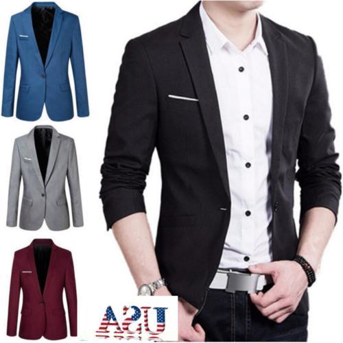 US Men's Casual Suit Blazer Slim Fit Formal One Button Coat