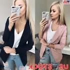 US Women Long Sleeve Cardigan Jacket Casual Blazer Suit Top