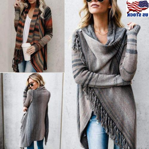 Women Irregular Tassel Knitted Cardigan Sweater Poncho Shawl