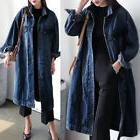 Women Plus Denim Jeans Buttons Down Long Sleeve Coat Jacket