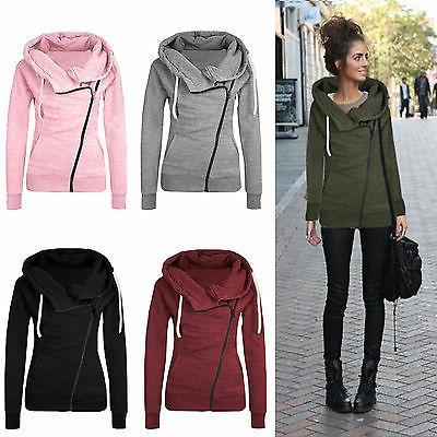 Women Zipper Hooded Slim Fit Sweater Jacket Coat Sweatshirt