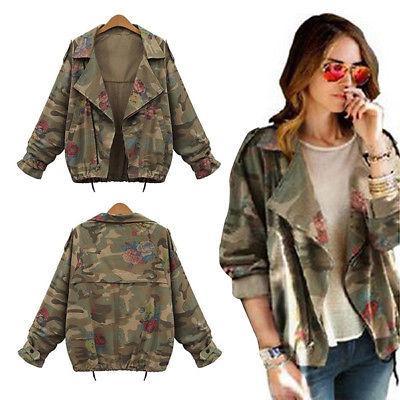 Women's Denim Floral Camouflage Coat Fashion Travel Jacket C