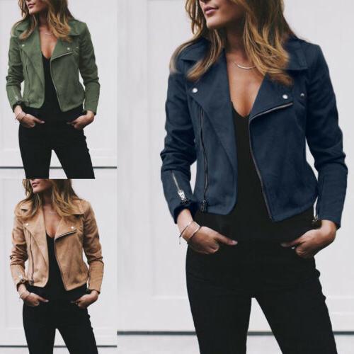 Women's Ladies Suede Leather Jacket Flight Coat Zip Up Biker