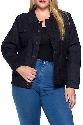 Women`s Plus Size, Premium Denim Jackets Long Sleeve Jean Co