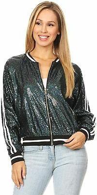 Anna-Kaci Womens Long Sleeve Front Zip Track Stripe Sequin B
